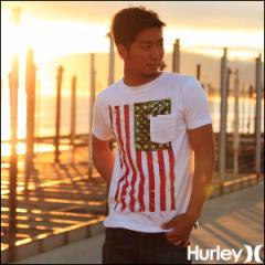 Hurley ハーレー Tシャツ メンズ ポケットT 星条旗 プリントT AMERIGO OILERS POCKET 白 ホワイト