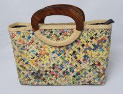 【手編みバッグ】 リサイクルペーパーバッグ 手編みトート型 ジッパー付 マルチカラー
