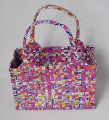 【手編みバッグ】Kilus ジュースバック 手編みバック オープン型 ピンク