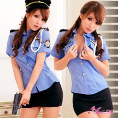 [メール便送料無料] ハロウィン コスプレ ポリス コスプレ衣装 セクシー 制服 コスチューム ミニスカポリス 婦人 警察 警官 大きいサイズ