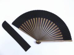 浴衣&着物に 粋なメンズ男物男性シルク扇子&扇子袋セット黒×茶