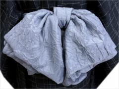 浴衣&着物に 簡単粋なメンズ男性ふわクシュ兵児帯グレー