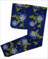 女性レディース浴衣ゆかた単品濃青地蝶菊