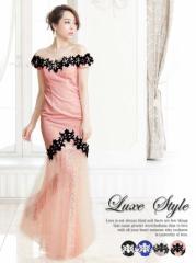 LuxeStyle マーメイドライン 美脚透け オフショル 袖付 ロングドレス [select]