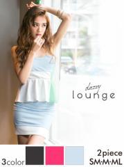 ドレス ミニ [SM/M/MLサイズ] パステルカラーパレットペプラムミニドレス / ワンピース 黒 ピンク[lounge]