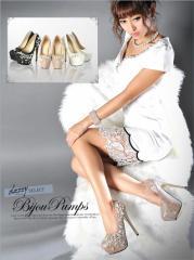 さくりなblog掲載★[15cmヒール]ラメ素材パールビジュー 美脚 ジュエリー パンプス 靴 キャバ[4サイズS/M/L/LL] r0209 dazzy