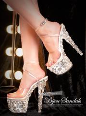18cmヒール ランダム ビジュー クリアサンダル パンプス サンダル ミュール キャバ 厚底 靴 シューズ