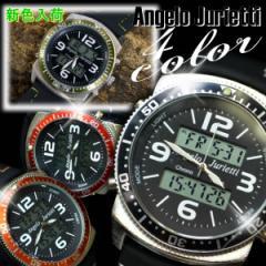 腕時計 メンズ レディース  Angelo Jurietti アンジェロジュリエッティ デジタル カラーステッチ ラバーベルト ユニセックス AJ7100