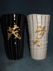 美濃焼「白黒ペアラインLカップ」陶器名入れ♪誕生祝・結婚祝・父の日・母の日・敬老祝に最適!