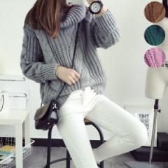 大きめのケーブル編みでざっくり感が可愛いニット...