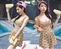 【2015新作】ジュニアにも大人気 可愛いバナナイラスト ワイヤ・パット入りワンピース水着M〜XL スイムウエア