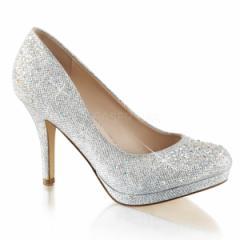 即納靴 ラインストーン ラメ風 ハイヒール 薄厚底 ビジュー パンプス 8.5cmヒール 銀色 シルバー グリッター メッシュ