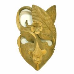 木彫りワルーのアートマスクお面 H [縦約27cm]ナチュラル エスニック バリ アジアン アジアン雑貨