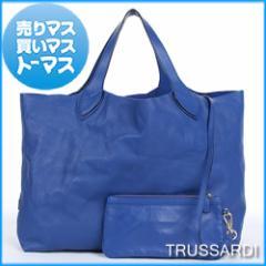 ポーチ付き♪A4収納可★トラサルディ トートバッグ TRUSSARDI ハンドバック ブルー シープスキン レザー レディース ブランド