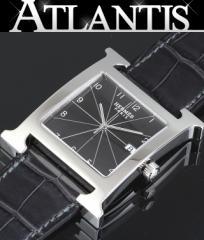 銀座 エルメス Hウォッチ シルバー×グラファイト アリゲーター メンズ腕時計 HH1.810