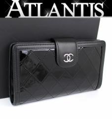美品 シャネル ファスナー付 長財布 二つ折り パテント 黒 ブラック