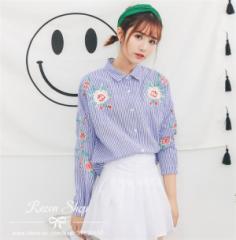 レディース刺繍 シャツ上着 トップス かわいい 花柄 ブラウス コットン レディース シャツ 長袖 通勤 可愛い韓国のファッション 春新作
