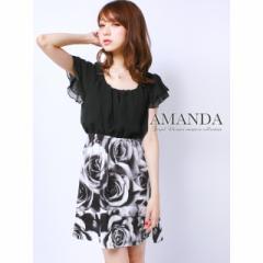 AM 全2色 ローズ柄シフォンフレアワンピース ミニ キャバ ドレス キャバクラ フレア ワンピース 半袖付き 花柄 ローズ柄 黒 ピンク