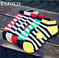 ENJOY21 【MS0038】送料無料 5足セット 靴下 ソックス メンズ スニーカー プチギフト お礼 プレゼント