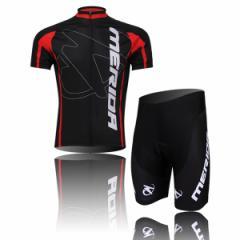 MERIDAサイクルジャージ上下セット/男性用自転車サイクルウェア半袖/春夏用サイクルジャージ普通タイプ ビブタイプ