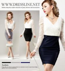【4サイズ】ホワイトレースシアースリーブ Vネックドッキングワンピース キャバ ミニドレス 大きいサイズ XLサイズ