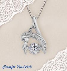 クロスフォー 「Flora」 揺れるダイヤ シルバー 925 ネックレス 送料無料