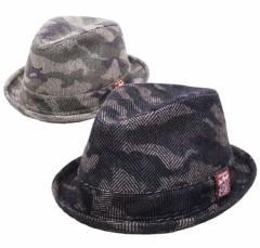 【サイズ調節可能】中折れハット◆ヘリンボーン迷彩マニッシュハット (帽子 メンズ レディース)