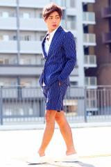 春夏のジャケットスタイルを提案♪爽やかなセットアップテーラードスタイル♪キレイめ / カジュアル / 総柄