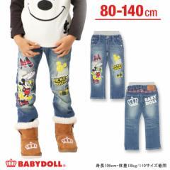 NEW♪ディズニー_ワッペンデニムロングパンツ-ベビーサイズ キッズ ベビードール 子供服 /DISNEY-7056K