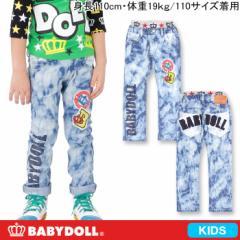 NEW♪BDJ_王冠ワッペンタイダイデニムロングパンツ-キッズベビードールジーンズ 子供服-5980K