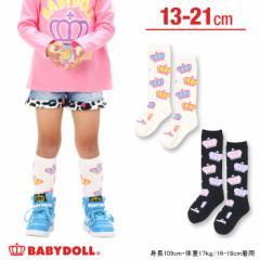 NEW 王冠総柄ハイソックス-靴下 ベビーサイズ キッズ ベビードール 子供服-6646