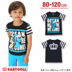 1/10一部再販 アウトレットSALE50%OFF [ステッカー付]ディズニー 袖ボーダーTシャツ(ドリー)-ベビーサイズ キッズ 子供服 /DISNEY-8097K