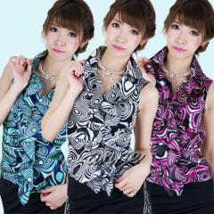 ST1307-006/マーブル柄フリルサテンシャツ