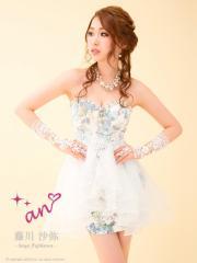 SD1507-002/【即納】【送料無料】【an】アン/オーガンジーフレア 花柄ベア キャバドレス【AOC-1955】White