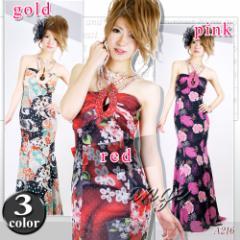 LD1206-947/キャバドレス/ビジューストラップ花柄オーガンジードレス