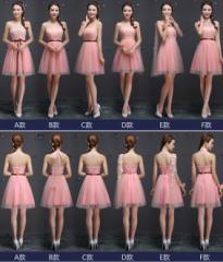 ピンク★ショート/ドレス二次会/ミニウェディングドレス/パーティードレス/花嫁/結婚式/披露宴/ワンピース/カラードレス/XS~XL