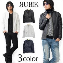 【RUBIK】 メンズ シングル ライダース PUレザー ジャケット ライダースジャケット 合成皮革 【16146】