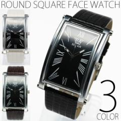 メンズ 腕時計 送料無料 半年保証 ラウンド スクエア ビッグフェイス 腕時計 全2色 RFWT 0725