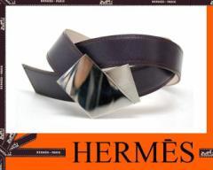 あす着 HERMES エルメス レディースベルト 75 ボックスカーフ パープル シルバー金具 F□刻 ギフト プレゼント