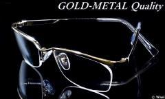 dm18/「知」を掛ける 上品な「控えめゴールド」/UVカット,バレル型/ナイロール/高品質,高級感/イメチェン/ダテメガネ/ハードケース付