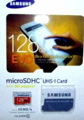 SAMSUNG製 EVO新型大容量メモリーマイクロSDカード128GB アダプター付