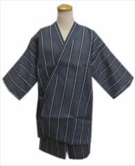 夏祭&普段着に 粋なメンズ男物男性甚平(じんべい)グレー地ラインM・L・LL