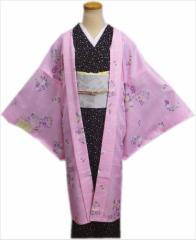 和装着物冬の必需品 小粋な長羽織ピンク地花輪流水(フリー)