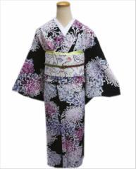 洗える袷着物(小紋)と軽装帯(付け帯)セット黒地乱菊M・L