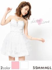 ドレス ミニ [SML私サイズ] デコルテビジューフリルレースフレアミニドレス / 白 ピンク [in love]