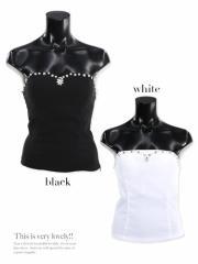 【Tika ティカ】パール刺繍シフォンノースリーブトップス/ブラウス/スーツのインナーから普段使いまで幅広く対応シンプル無地[M][白]