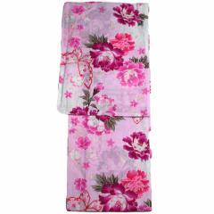 女性用 浴衣 フリーサイズ 変わり生地 レディース ゆかた ピンク 花火大会や夏祭りに87822