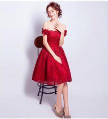 欧米風★ミニ ショート丈 パーティー ウェディングドレス  オフショルダー 結婚式 二次会 披露宴 編み上げ  赤