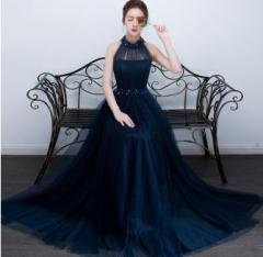 ロングドレス パーティードレス ワンピース イブニングドレス ウェディング ホルタ—ネック ノースリーブ 二次会 披露宴
