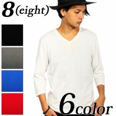 送料無料! Tシャツ メンズ 7分袖 無地 七分袖 新作 国産 日本製 無地 Vネック カットソー コットン 綿 S M L LL 8(eight) エイト 8